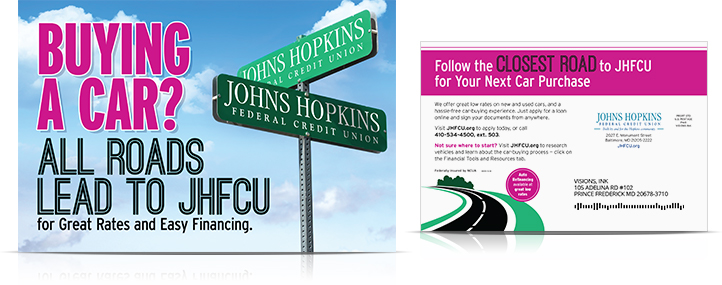 auto loan buying a car postcard_Johns Hopkins Federal Credit Union