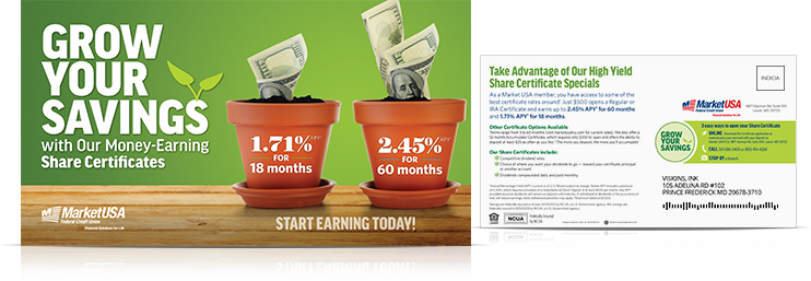 grow savings certificate postcard_Market USA Federal Credit Union