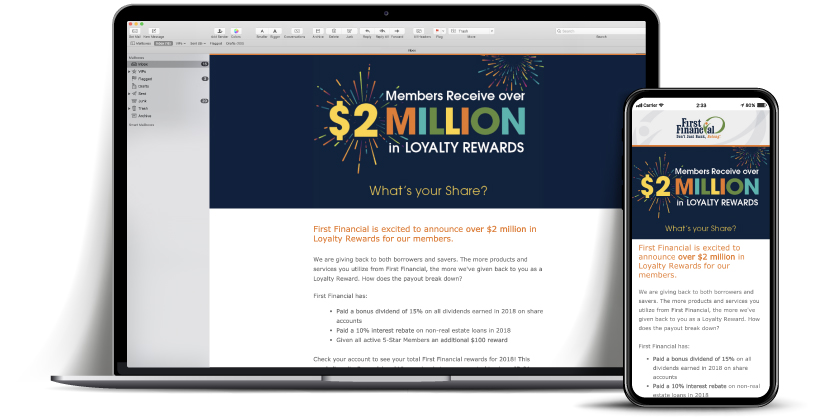 loyalty rewards email First Financial Federal Credit Union